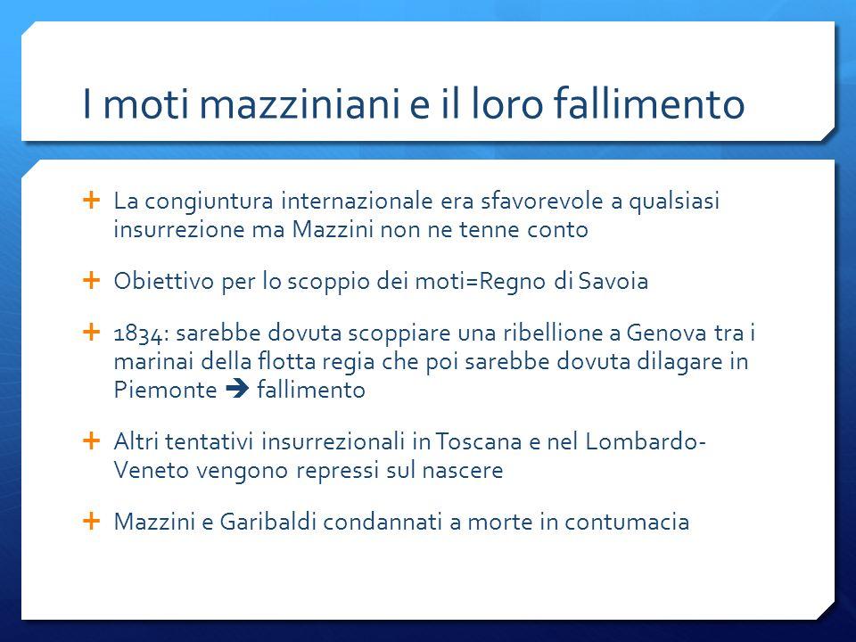 I moti mazziniani e il loro fallimento La congiuntura internazionale era sfavorevole a qualsiasi insurrezione ma Mazzini non ne tenne conto Obiettivo
