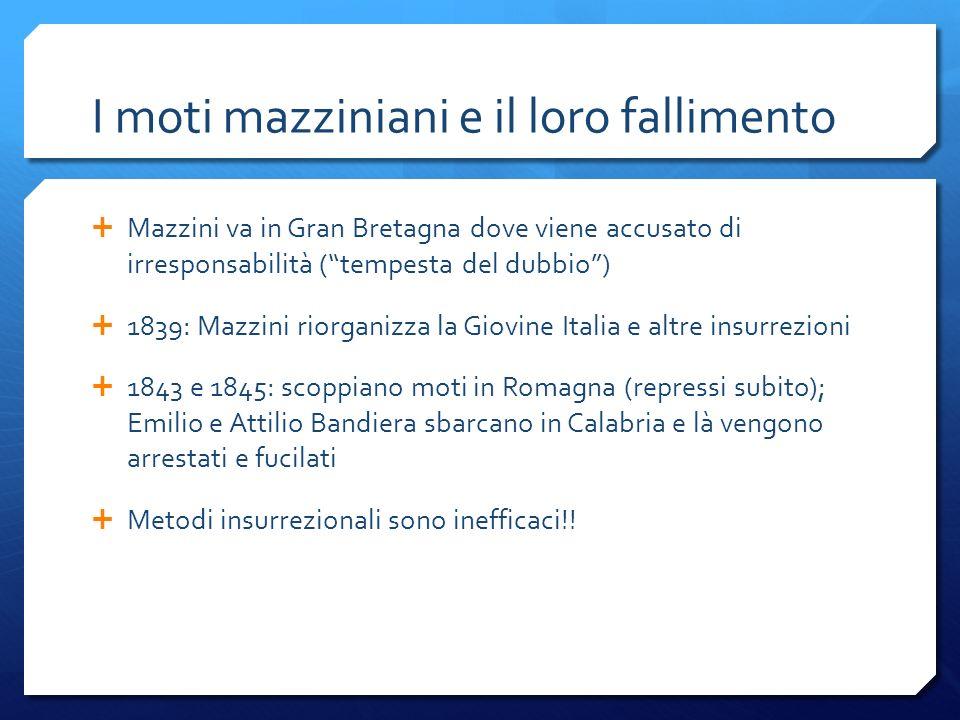 I moti mazziniani e il loro fallimento Mazzini va in Gran Bretagna dove viene accusato di irresponsabilità (tempesta del dubbio) 1839: Mazzini riorgan