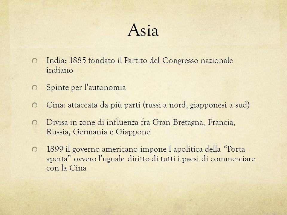 Asia India: 1885 fondato il Partito del Congresso nazionale indiano Spinte per lautonomia Cina: attaccata da più parti (russi a nord, giapponesi a sud