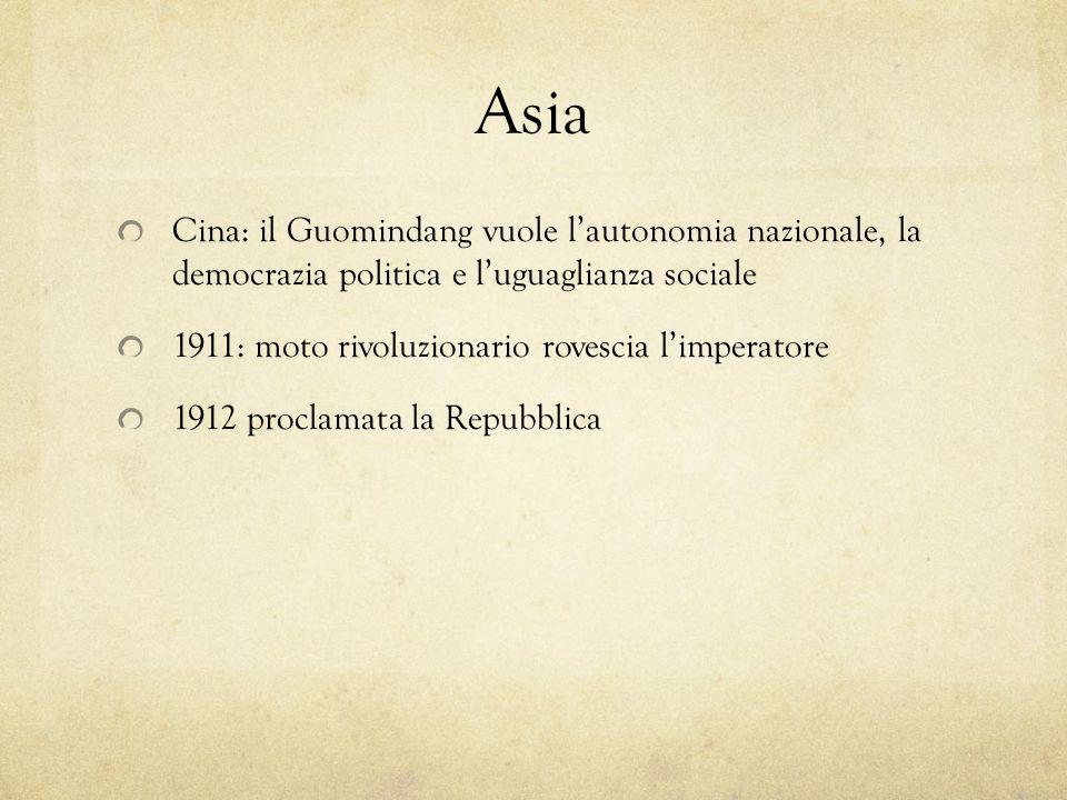 Asia Cina: il Guomindang vuole lautonomia nazionale, la democrazia politica e luguaglianza sociale 1911: moto rivoluzionario rovescia limperatore 1912