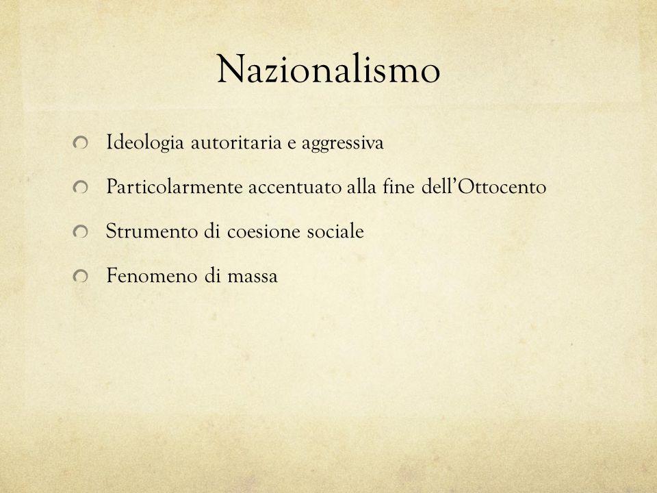 Nazionalismo Ideologia autoritaria e aggressiva Particolarmente accentuato alla fine dellOttocento Strumento di coesione sociale Fenomeno di massa