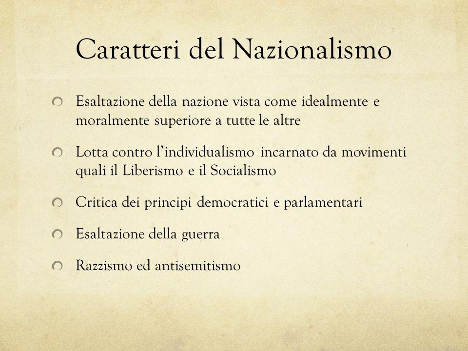 Caratteri del Nazionalismo Esaltazione della nazione vista come idealmente e moralmente superiore a tutte le altre Lotta contro lindividualismo incarn