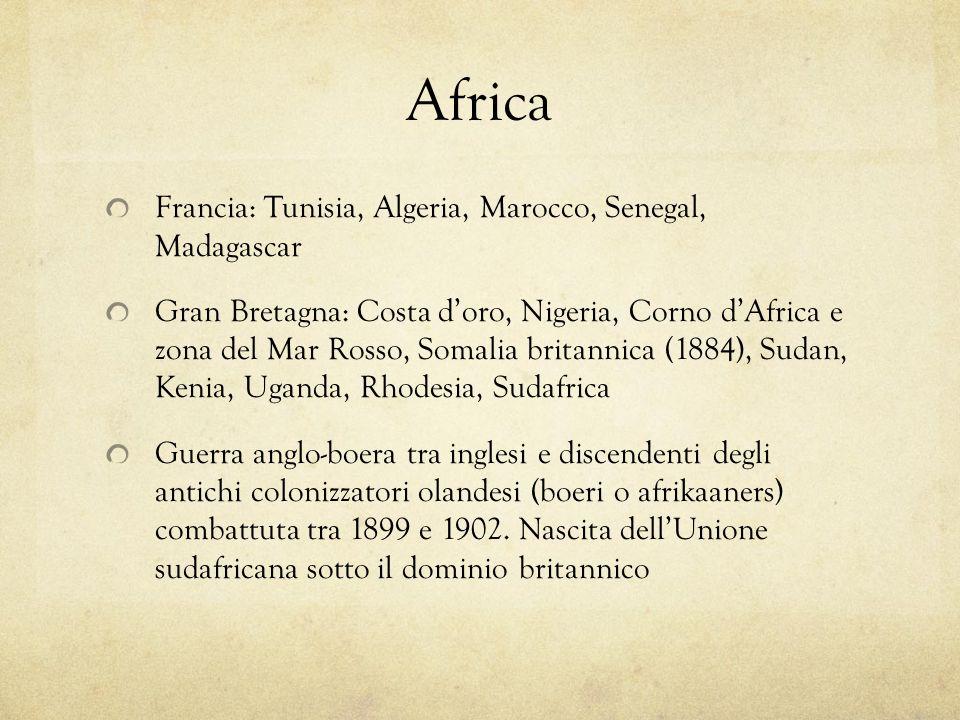 Africa Francia: Tunisia, Algeria, Marocco, Senegal, Madagascar Gran Bretagna: Costa doro, Nigeria, Corno dAfrica e zona del Mar Rosso, Somalia britann