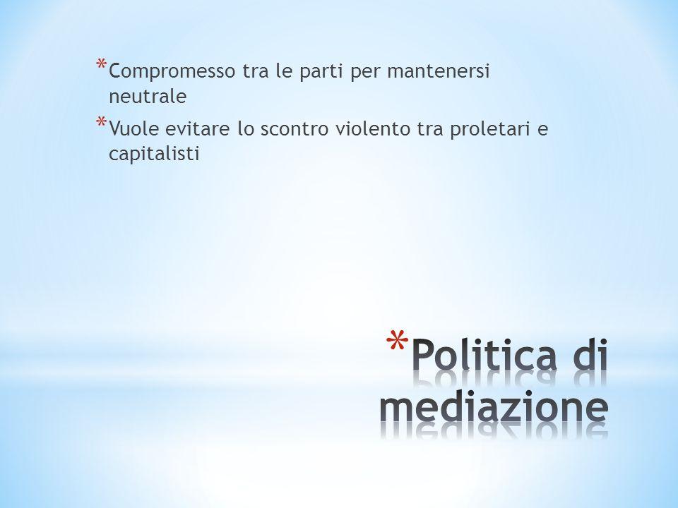 * Compromesso tra le parti per mantenersi neutrale * Vuole evitare lo scontro violento tra proletari e capitalisti
