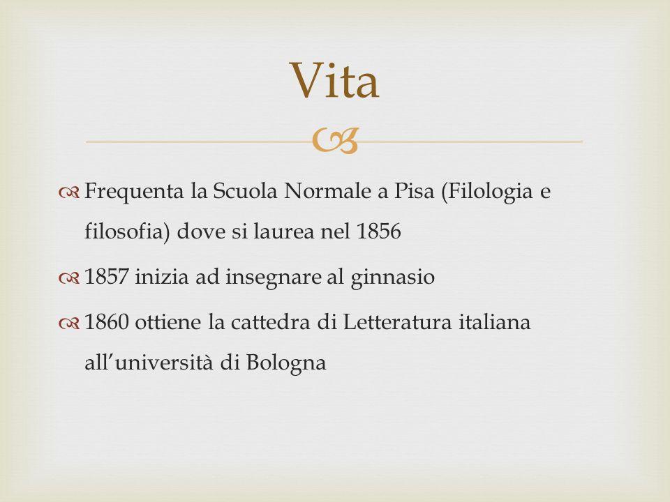 Frequenta la Scuola Normale a Pisa (Filologia e filosofia) dove si laurea nel 1856 1857 inizia ad insegnare al ginnasio 1860 ottiene la cattedra di Le
