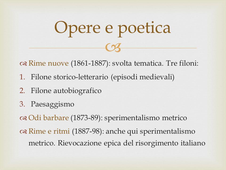 Rime nuove (1861-1887): svolta tematica. Tre filoni: 1.Filone storico-letterario (episodi medievali) 2.Filone autobiografico 3.Paesaggismo Odi barbare