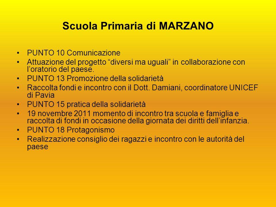 Scuola Primaria di MARZANO PUNTO 10 Comunicazione Attuazione del progetto diversi ma uguali in collaborazione con loratorio del paese.