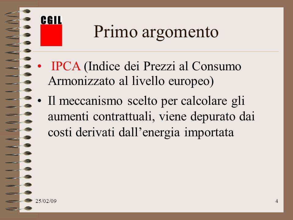 25/02/094 Primo argomento IPCA (Indice dei Prezzi al Consumo Armonizzato al livello europeo) Il meccanismo scelto per calcolare gli aumenti contrattuali, viene depurato dai costi derivati dallenergia importata