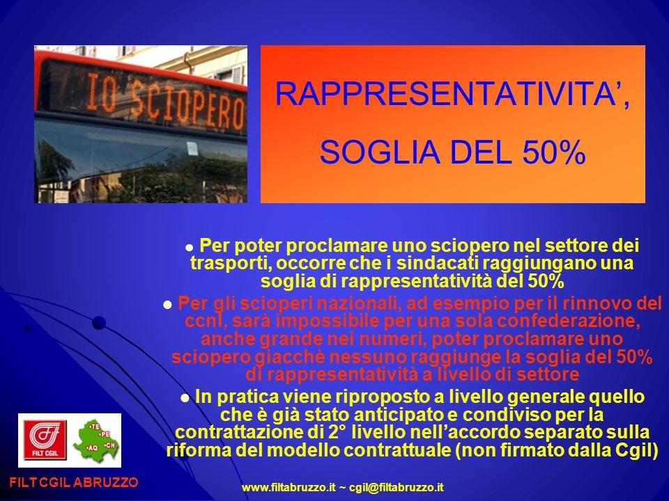 www.filtabruzzo.it ~ cgil@filtabruzzo.it RAPPRESENTATIVITA, SOGLIA DEL 50% Per poter proclamare uno sciopero nel settore dei trasporti, occorre che i