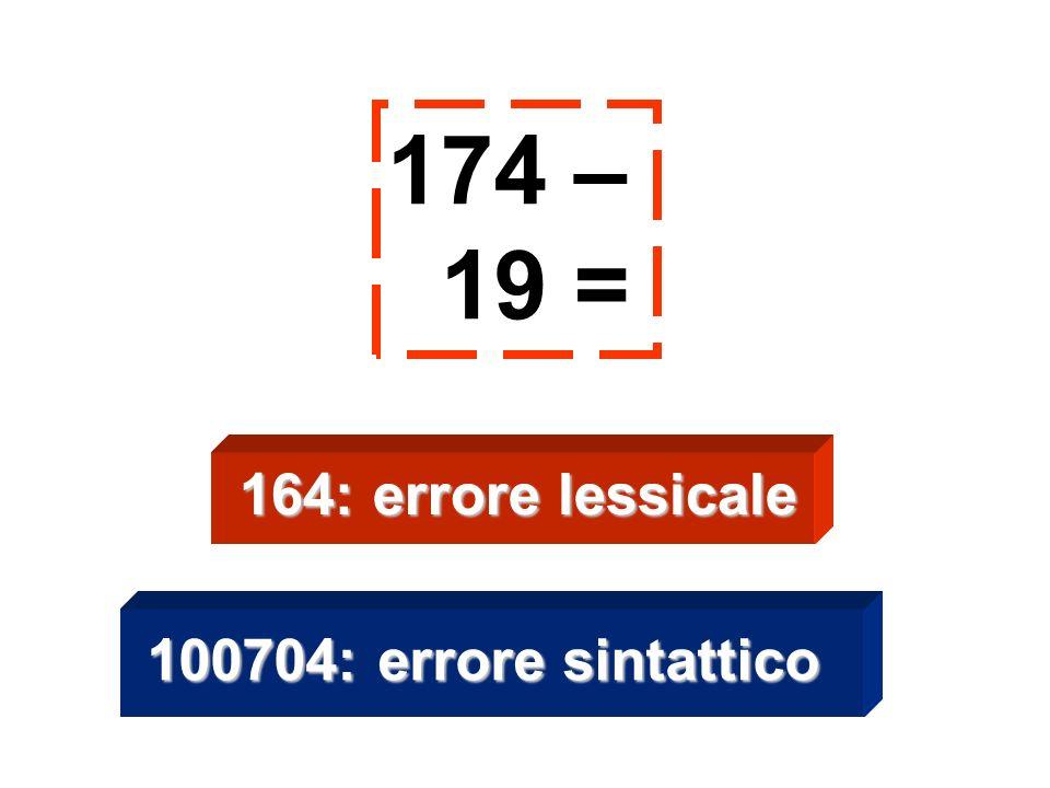 174 – 19 = 100704: errore sintattico 164: errore lessicale