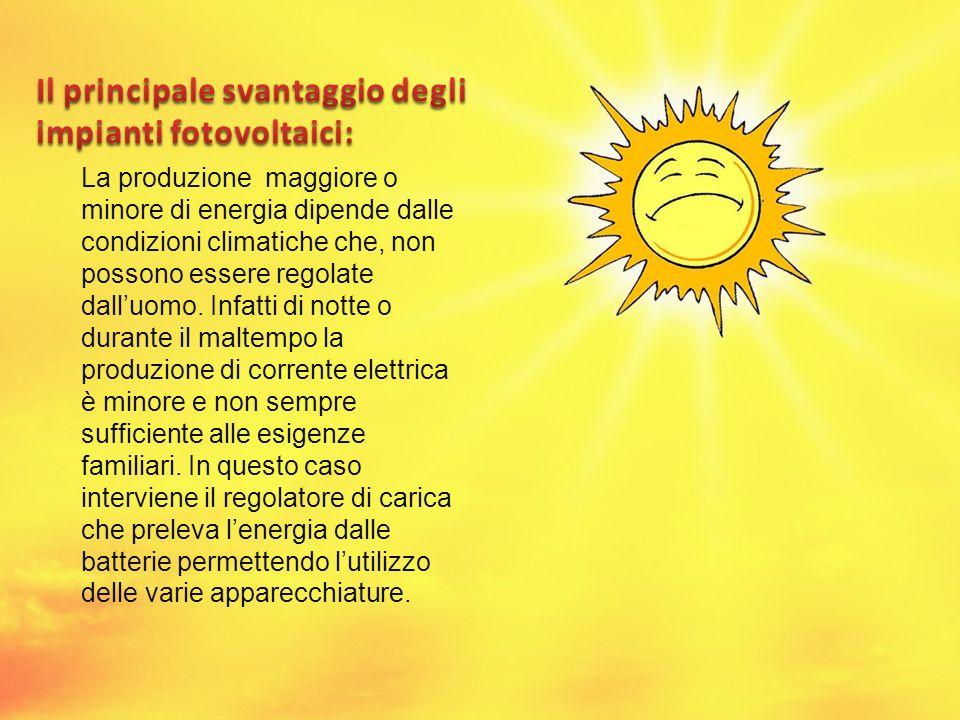 La produzione maggiore o minore di energia dipende dalle condizioni climatiche che, non possono essere regolate dalluomo. Infatti di notte o durante i