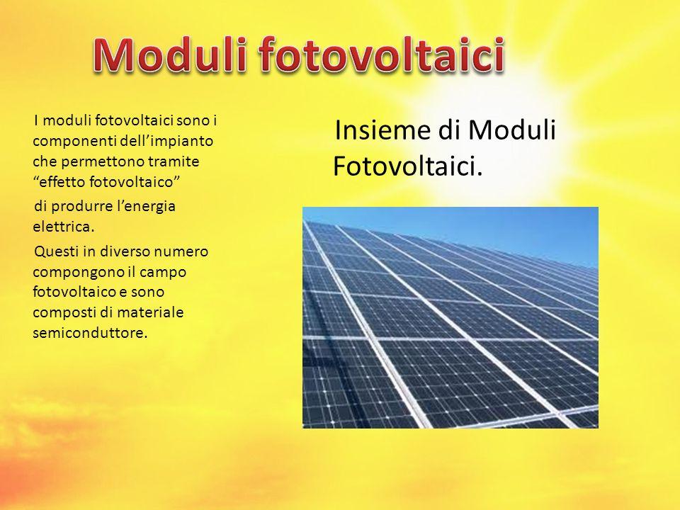 I moduli fotovoltaici sono i componenti dellimpianto che permettono tramite effetto fotovoltaico di produrre lenergia elettrica. Questi in diverso num