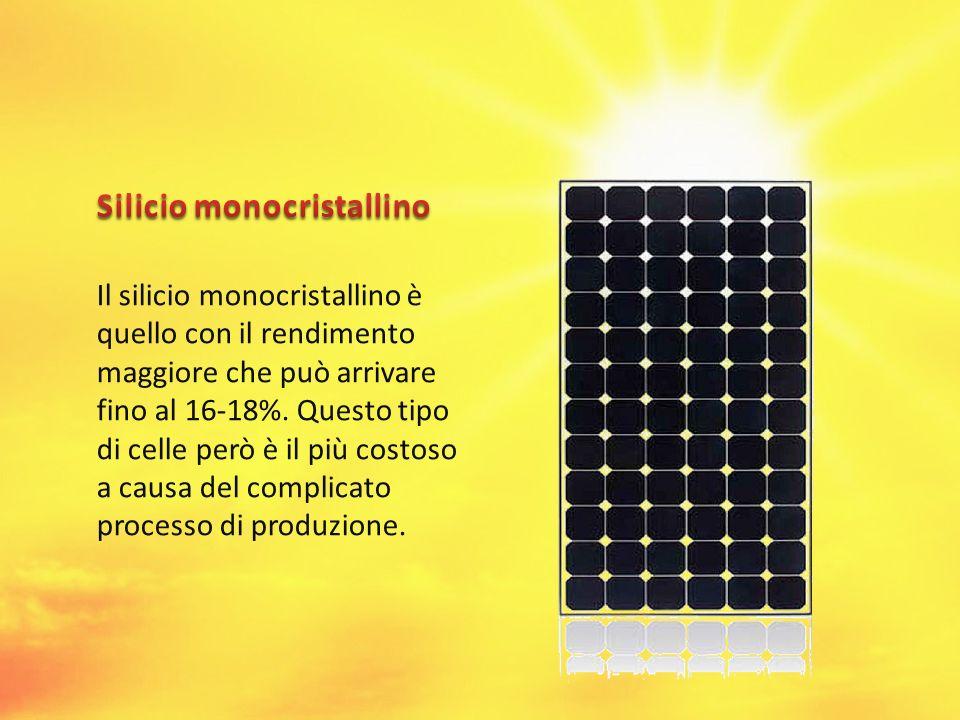 Il silicio monocristallino è quello con il rendimento maggiore che può arrivare fino al 16-18%. Questo tipo di celle però è il più costoso a causa del