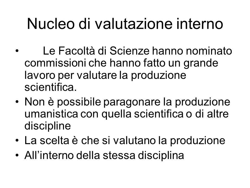 Nucleo di valutazione interno Le Facoltà di Scienze hanno nominato commissioni che hanno fatto un grande lavoro per valutare la produzione scientifica
