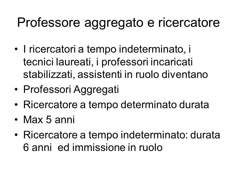 Professore aggregato e ricercatore I ricercatori a tempo indeterminato, i tecnici laureati, i professori incaricati stabilizzati, assistenti in ruolo
