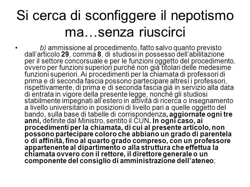 Si cerca di sconfiggere il nepotismo ma…senza riuscirci b) ammissione al procedimento, fatto salvo quanto previsto dallarticolo 29, comma 8, di studio