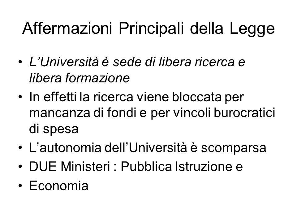 Affermazioni Principali della Legge LUniversità è sede di libera ricerca e libera formazione In effetti la ricerca viene bloccata per mancanza di fond