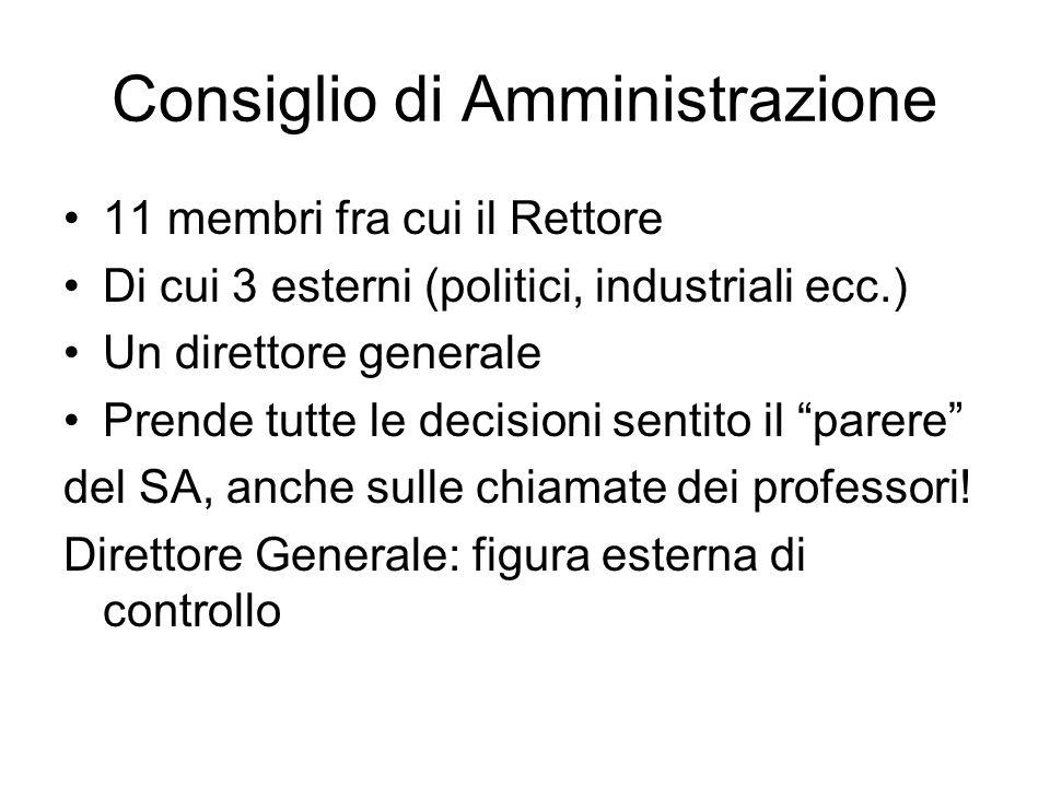 Consiglio di Amministrazione 11 membri fra cui il Rettore Di cui 3 esterni (politici, industriali ecc.) Un direttore generale Prende tutte le decision