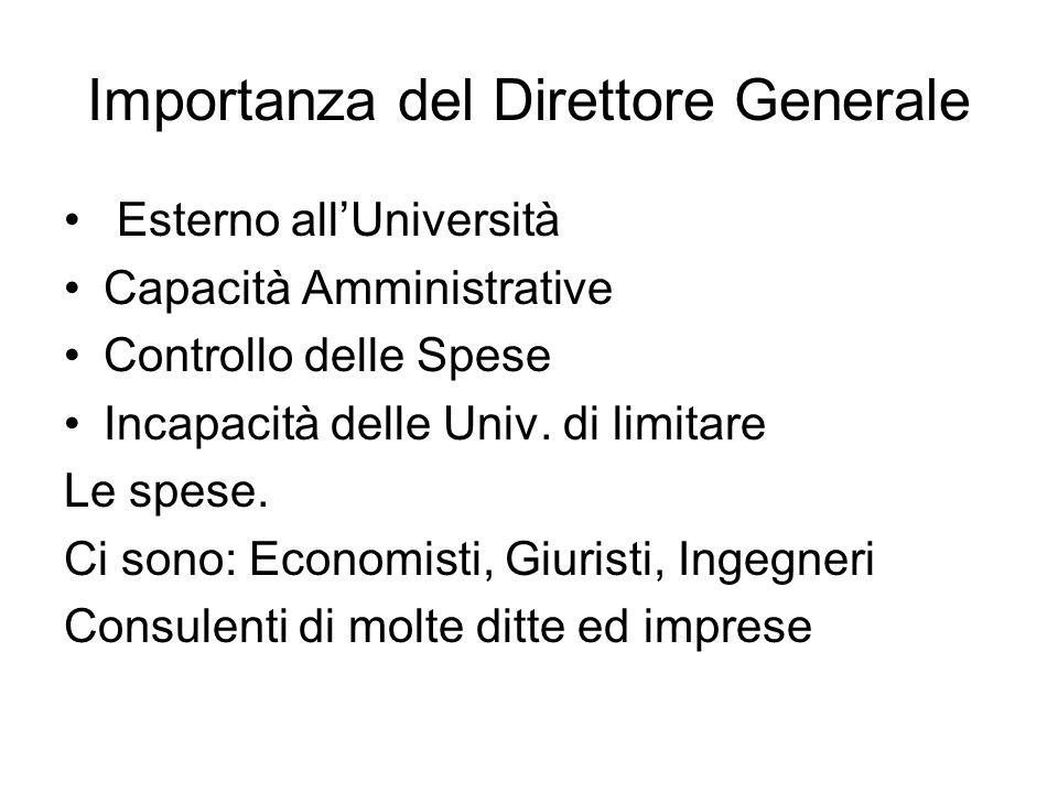 Importanza del Direttore Generale Esterno allUniversità Capacità Amministrative Controllo delle Spese Incapacità delle Univ. di limitare Le spese. Ci