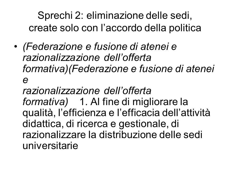 Sprechi 2: eliminazione delle sedi, create solo con laccordo della politica (Federazione e fusione di atenei e razionalizzazione dellofferta formativa