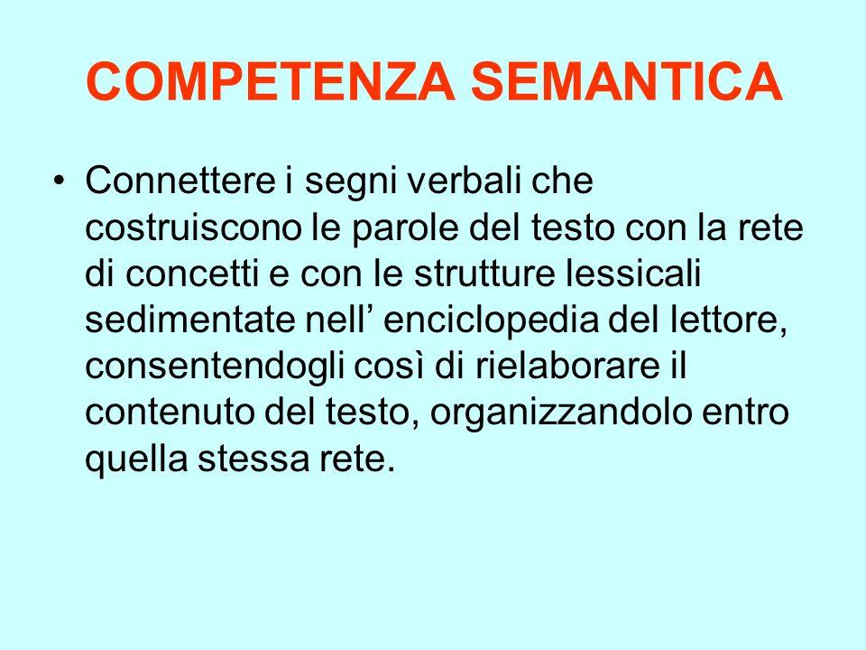 COMPETENZA SEMANTICA Connettere i segni verbali che costruiscono le parole del testo con la rete di concetti e con le strutture lessicali sedimentate