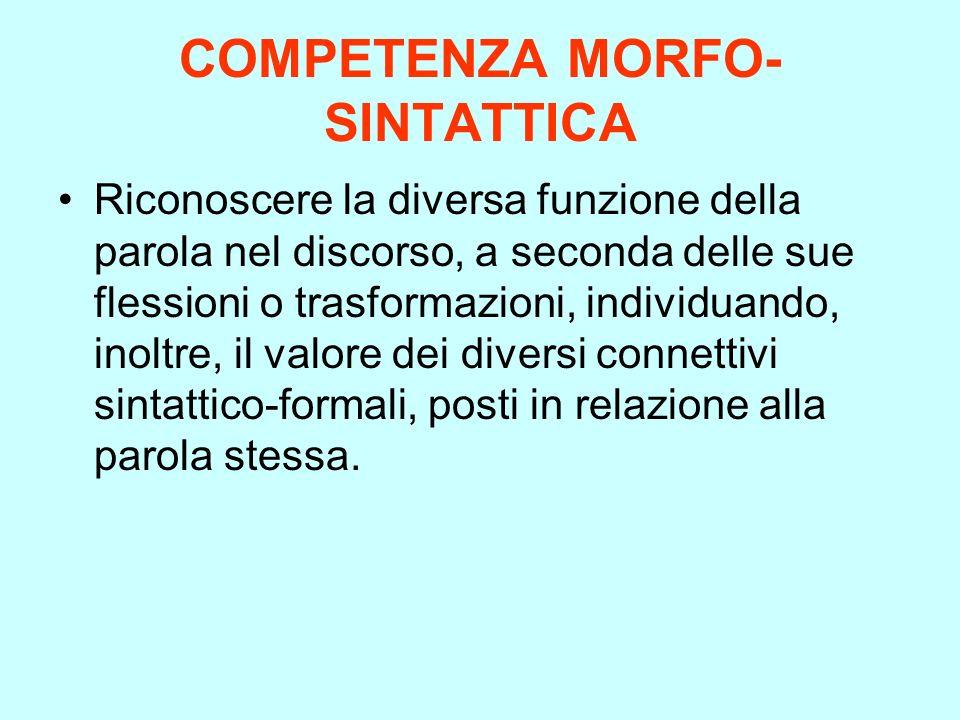 COMPETENZA MORFO- SINTATTICA Riconoscere la diversa funzione della parola nel discorso, a seconda delle sue flessioni o trasformazioni, individuando,