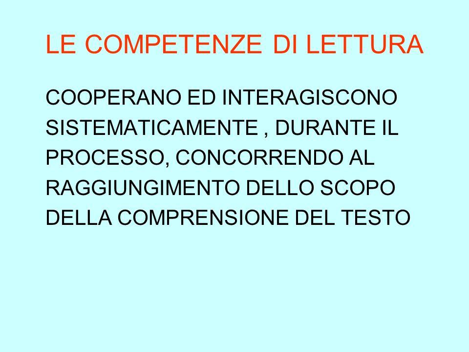 LE COMPETENZE DI LETTURA COOPERANO ED INTERAGISCONO SISTEMATICAMENTE, DURANTE IL PROCESSO, CONCORRENDO AL RAGGIUNGIMENTO DELLO SCOPO DELLA COMPRENSION