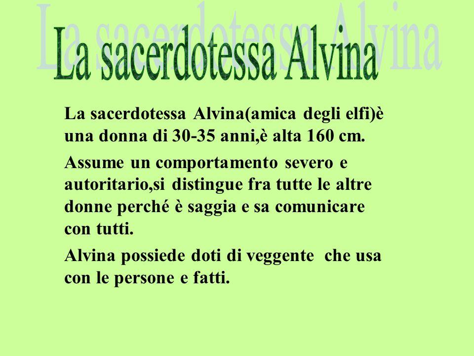 La sacerdotessa Alvina(amica degli elfi)è una donna di 30-35 anni,è alta 160 cm.