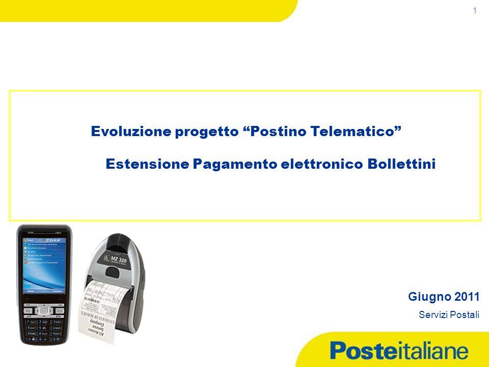05/05/2014 1 Evoluzione progetto Postino Telematico Estensione Pagamento elettronico Bollettini Giugno 2011 Servizi Postali