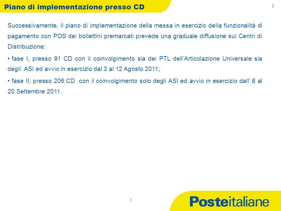 05/05/2014 3 3 Piano di implementazione presso CD Successivamente, il piano di implementazione della messa in esercizio della funzionalità di pagament