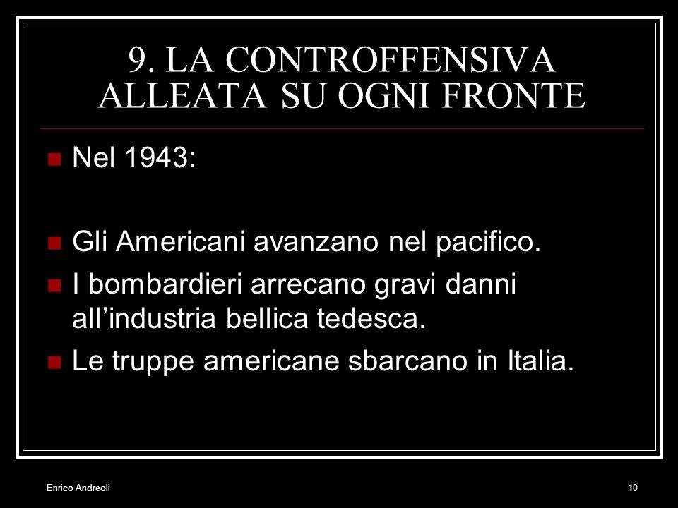 Enrico Andreoli10 9. LA CONTROFFENSIVA ALLEATA SU OGNI FRONTE Nel 1943: Gli Americani avanzano nel pacifico. I bombardieri arrecano gravi danni allind