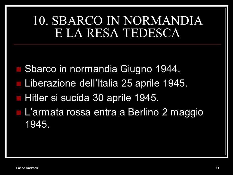 Enrico Andreoli11 10. SBARCO IN NORMANDIA E LA RESA TEDESCA Sbarco in normandia Giugno 1944. Liberazione dellItalia 25 aprile 1945. Hitler si sucida 3