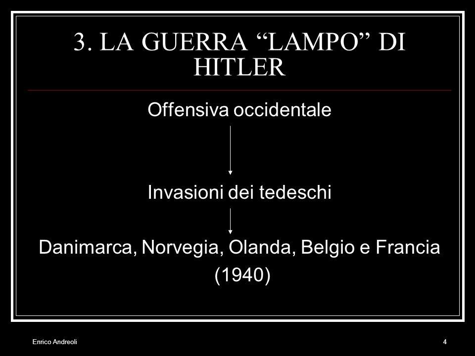 Enrico Andreoli4 3. LA GUERRA LAMPO DI HITLER Offensiva occidentale Invasioni dei tedeschi Danimarca, Norvegia, Olanda, Belgio e Francia (1940)