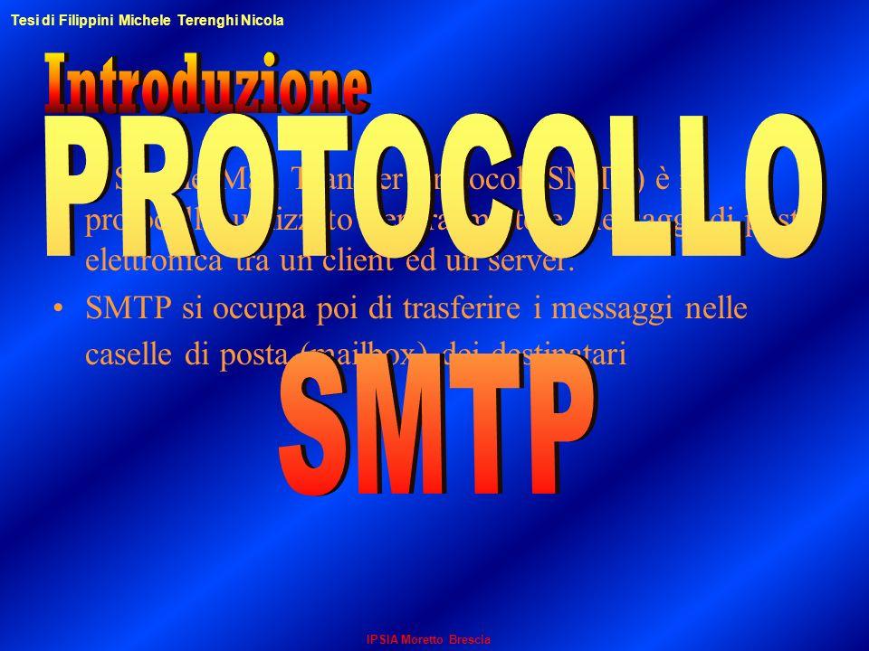 Il Simple Mail Transfer Protocol (SMTP) è il protocollo utilizzato per trasmettere messaggi di posta elettronica tra un client ed un server. SMTP si o
