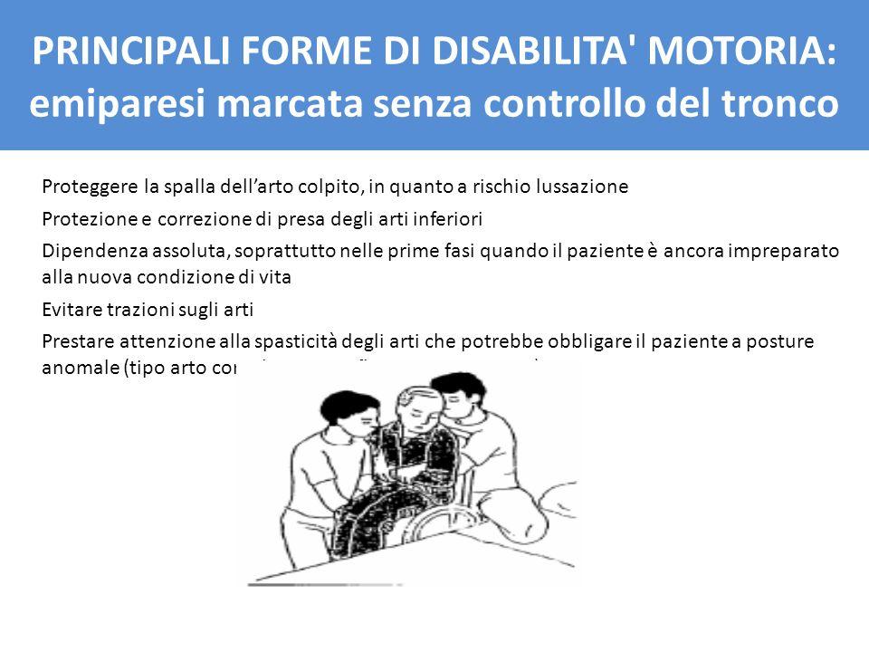 Proteggere la spalla dellarto colpito, in quanto a rischio lussazione Protezione e correzione di presa degli arti inferiori Dipendenza assoluta, sopra
