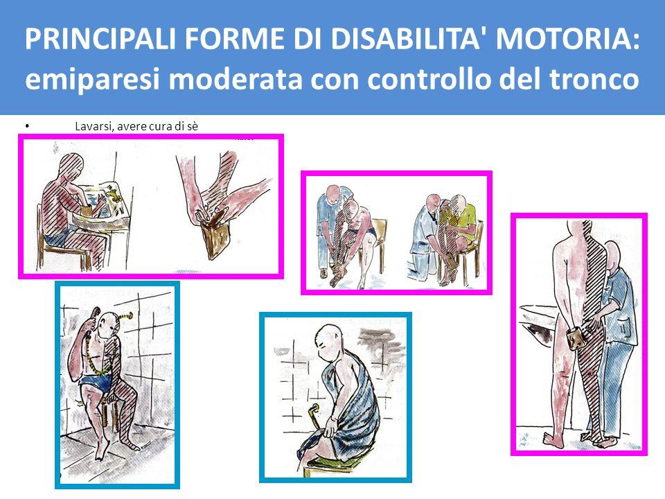 PRINCIPALI FORME DI DISBAILITA' MOTORIA: emiparesi moderata con controllo del tronco Lavarsi, avere cura di sè PRINCIPALI FORME DI DISABILITA' MOTORIA