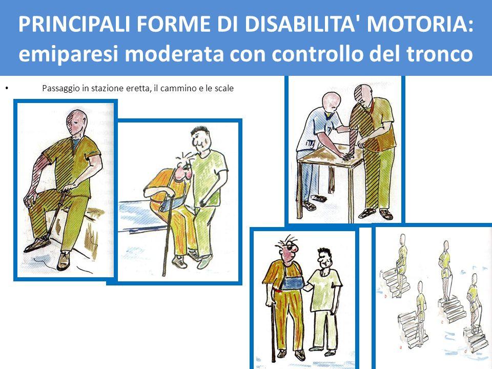 PRINCIPALI FORME DI DISBAILITA' MOTORIA: emiparesi moderata con controllo del tronco Passaggio in stazione eretta, il cammino e le scale PRINCIPALI FO