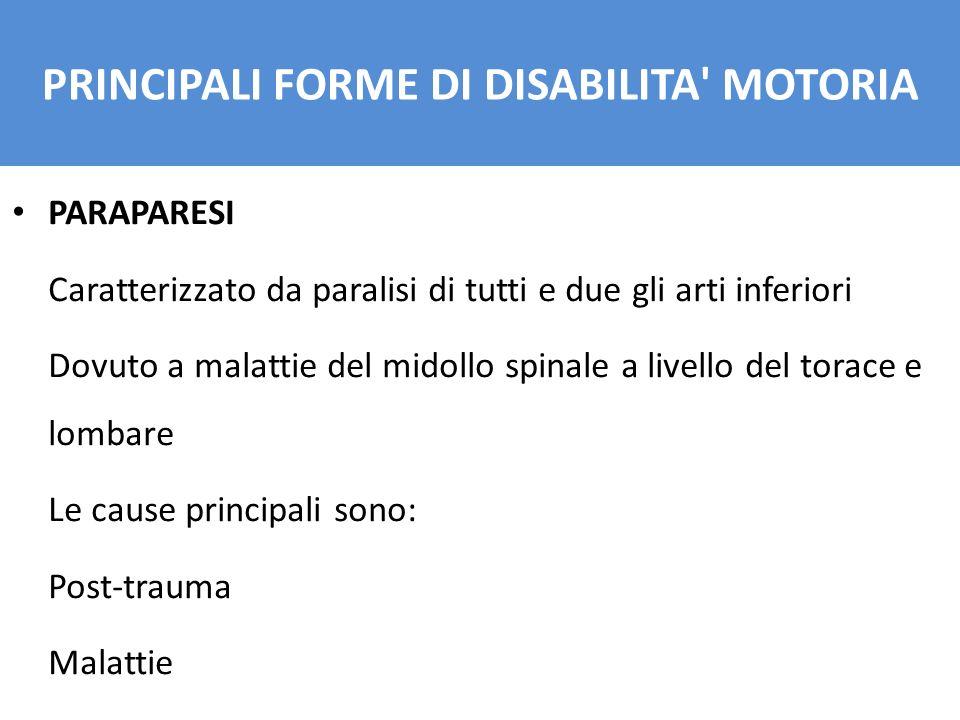 PARAPARESI Caratterizzato da paralisi di tutti e due gli arti inferiori Dovuto a malattie del midollo spinale a livello del torace e lombare Le cause principali sono: Post-trauma Malattie PRINCIPALI FORME DI DISABILITA MOTORIA