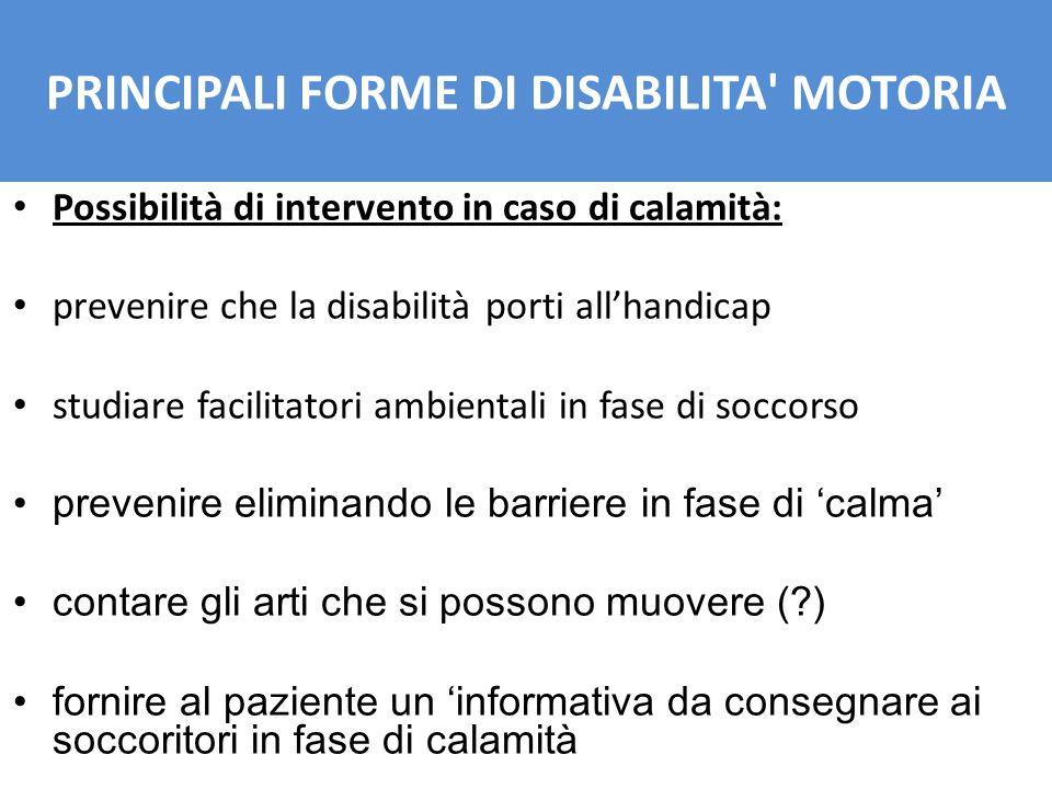 Possibilità di intervento in caso di calamità: prevenire che la disabilità porti allhandicap studiare facilitatori ambientali in fase di soccorso prev