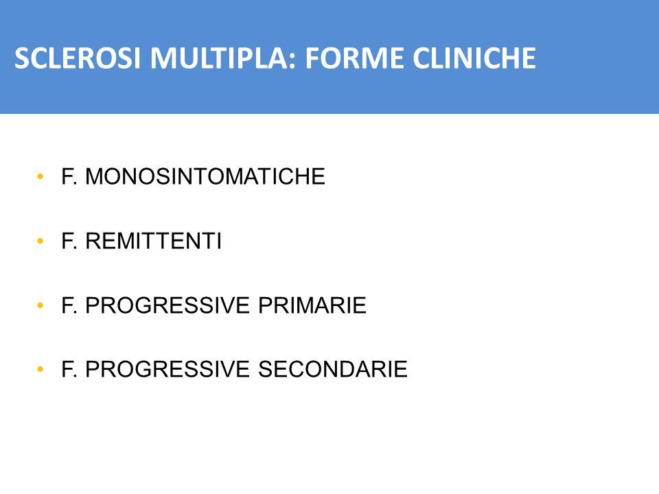 SCLEROSI MULTIPLA: FORME CLINICHE F. MONOSINTOMATICHE F. REMITTENTI F. PROGRESSIVE PRIMARIE F. PROGRESSIVE SECONDARIE