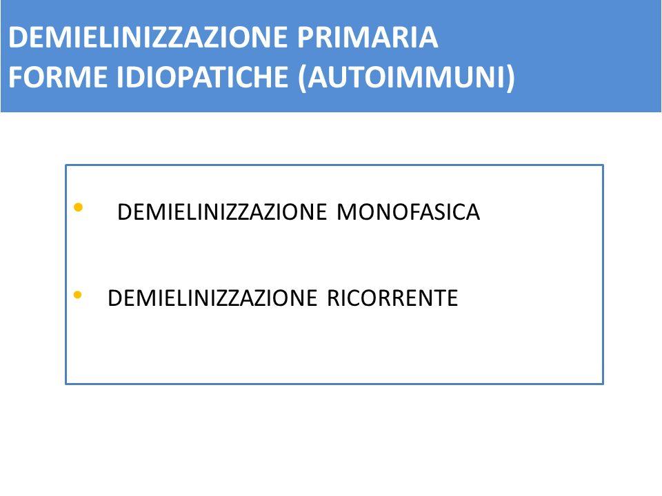 DEMIELINIZZAZIONE PRIMARIA FORME IDIOPATICHE (AUTOIMMUNI) DEMIELINIZZAZIONE MONOFASICA DEMIELINIZZAZIONE RICORRENTE