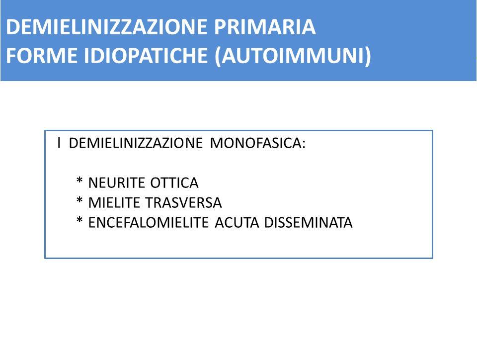 DEMIELINIZZAZIONE PRIMARIA FORME IDIOPATICHE (AUTOIMMUNI) l DEMIELINIZZAZIONE MONOFASICA: * NEURITE OTTICA * MIELITE TRASVERSA * ENCEFALOMIELITE ACUTA