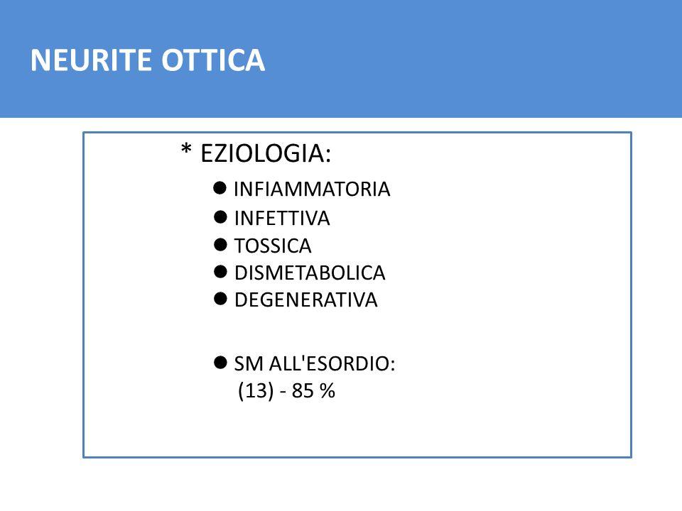 NEURITE OTTICA * EZIOLOGIA: l INFIAMMATORIA l INFETTIVA l TOSSICA l DISMETABOLICA l DEGENERATIVA l SM ALL'ESORDIO: (13) - 85 %