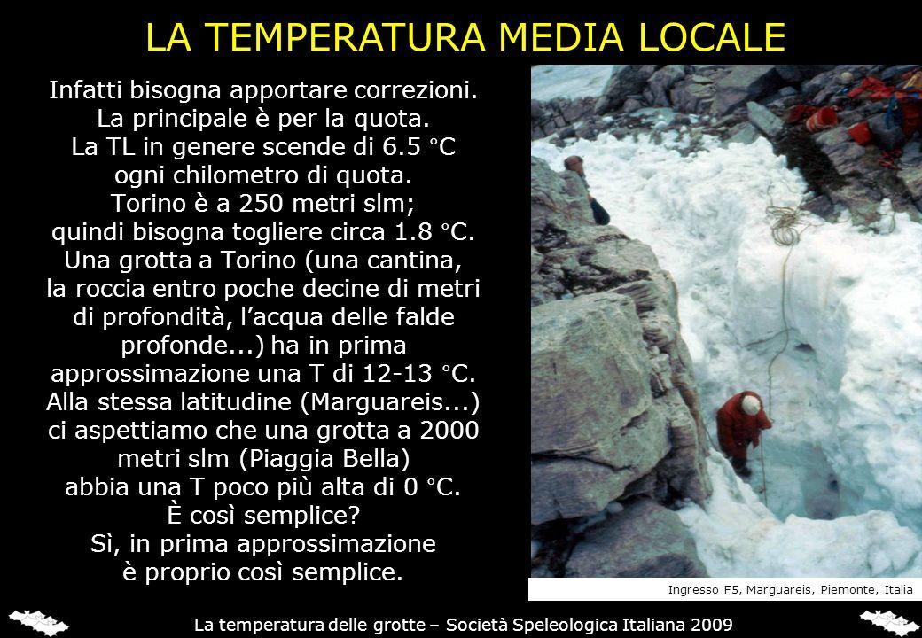 Infatti bisogna apportare correzioni. La principale è per la quota. La TL in genere scende di 6.5 °C ogni chilometro di quota. Torino è a 250 metri sl
