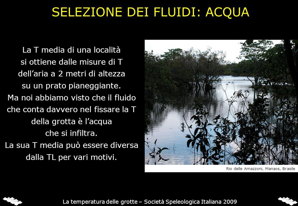 SELEZIONE DEI FLUIDI: ACQUA La T media di una località si ottiene dalle misure di T dellaria a 2 metri di altezza su un prato pianeggiante. Ma noi abb