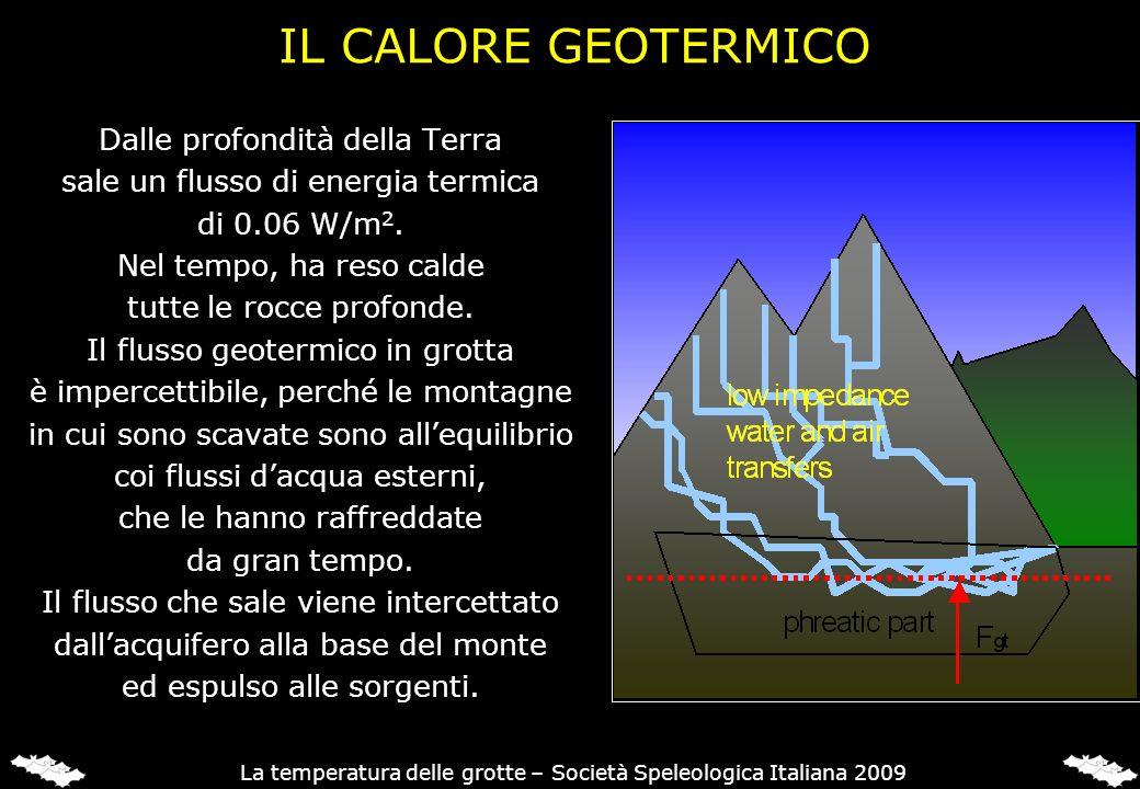 IL CALORE GEOTERMICO Dalle profondità della Terra sale un flusso di energia termica di 0.06 W/m 2. Nel tempo, ha reso calde tutte le rocce profonde. I