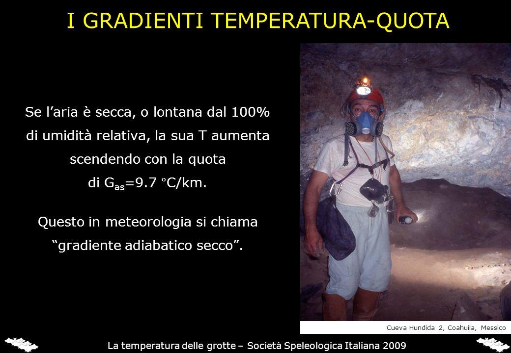 Se laria è secca, o lontana dal 100% di umidità relativa, la sua T aumenta scendendo con la quota di G as =9.7 °C/km. Questo in meteorologia si chiama