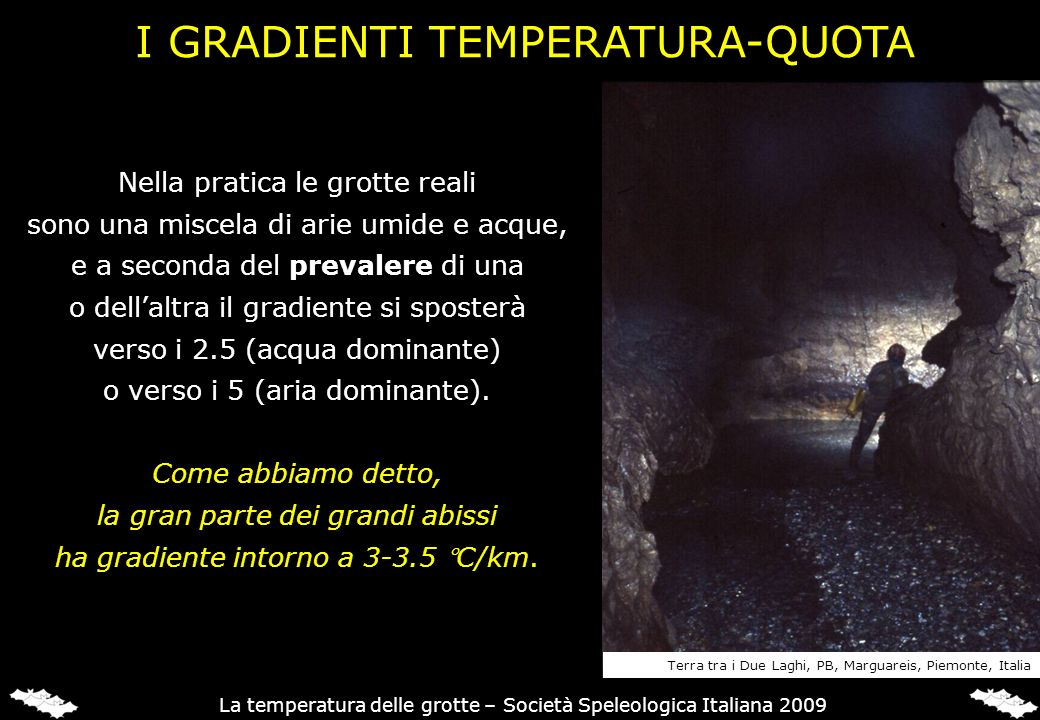 Nella pratica le grotte reali sono una miscela di arie umide e acque, e a seconda del prevalere di una o dellaltra il gradiente si sposterà verso i 2.