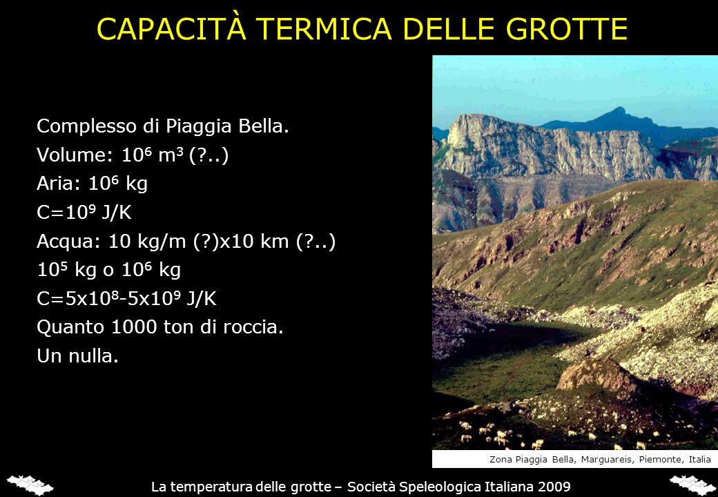 CAPACITÀ TERMICA DELLE GROTTE Complesso di Piaggia Bella. Volume: 10 6 m 3 (?..) Aria: 10 6 kg C=10 9 J/K Acqua: 10 kg/m (?)x10 km (?..) 10 5 kg o 10