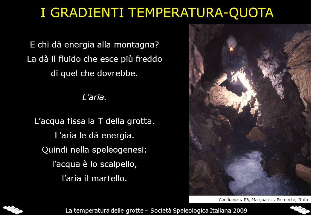 E chi dà energia alla montagna? La dà il fluido che esce più freddo di quel che dovrebbe. Laria. Lacqua fissa la T della grotta. Laria le dà energia.